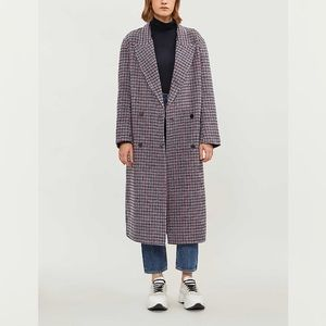 Sandro George Checked Double-breasted Plaid Coat